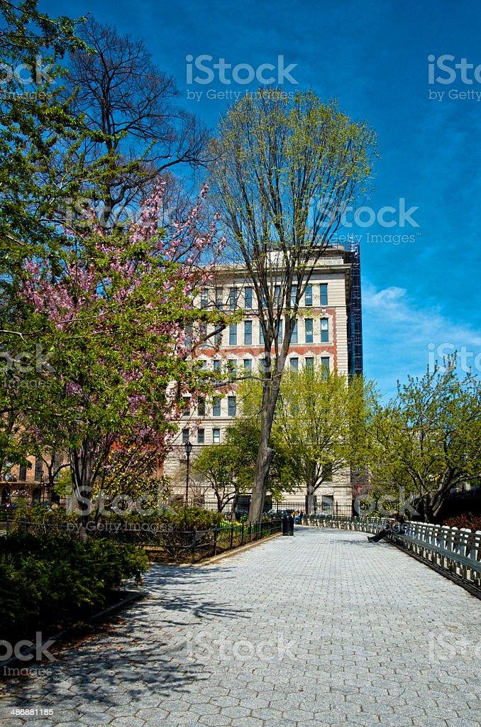 Urban Life, New York City, Stuyvesant Square Park Cityscape, Manhattan royalty-free stock photo