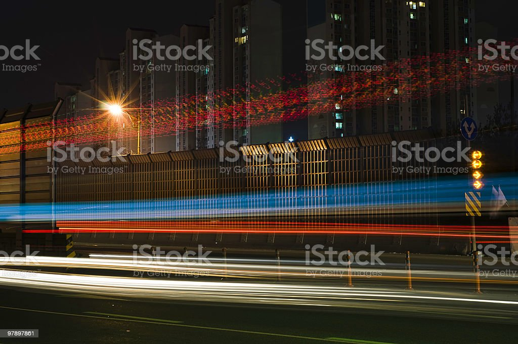 Urban Light Trails royalty-free stock photo