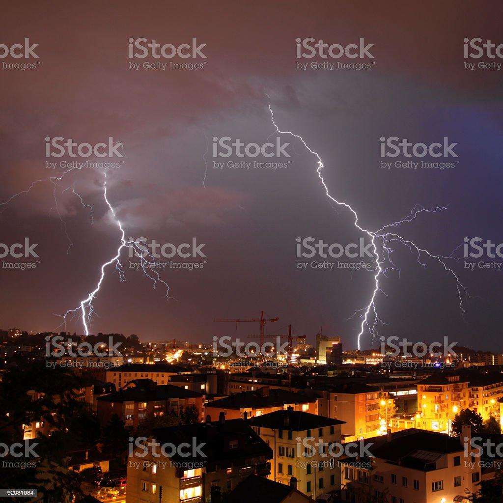 Urban lightning strike stock photo