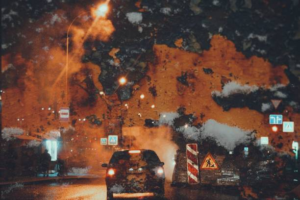 urban longing abstraction street evening collage car headlights rust nostalgia big city psychedelic stock photo