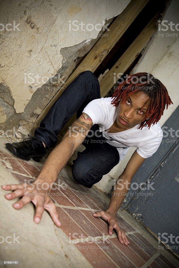 Urban Man with Red Dreadlocks royalty-free stock photo