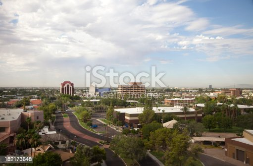 View from top floor of a high rise in Mesa Arizona. Looking southeast. Mesa Arts Center is modern blue building in center.  Panaorama view: