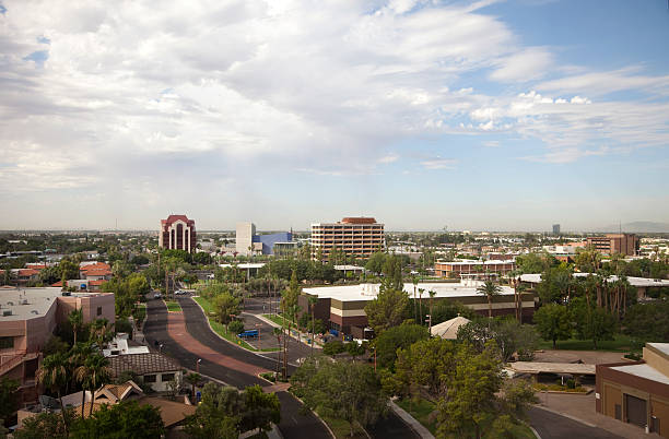 Urban Mesa Arizona Aerial View of City Skyline stock photo