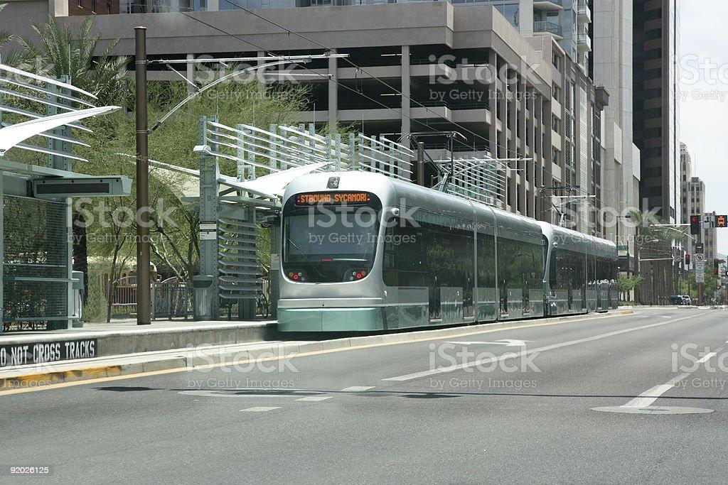 Urban metro rail station in Phoenix Arizona royalty-free stock photo
