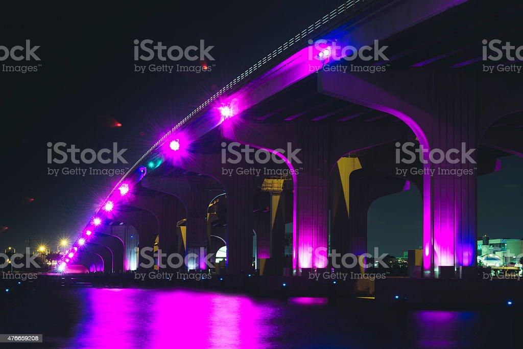 Urban Miami Beach MacArthur Causeway Night Architecture stock photo