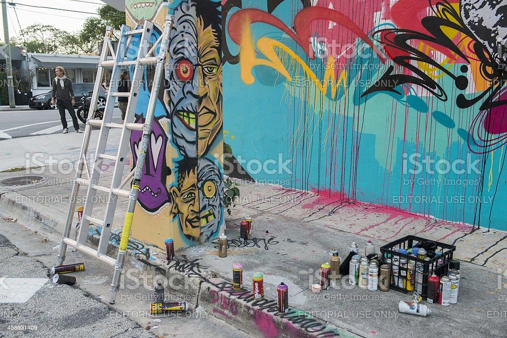 Miami Wynwood Graffiti-Wandmalerei Malen auf Street – Foto