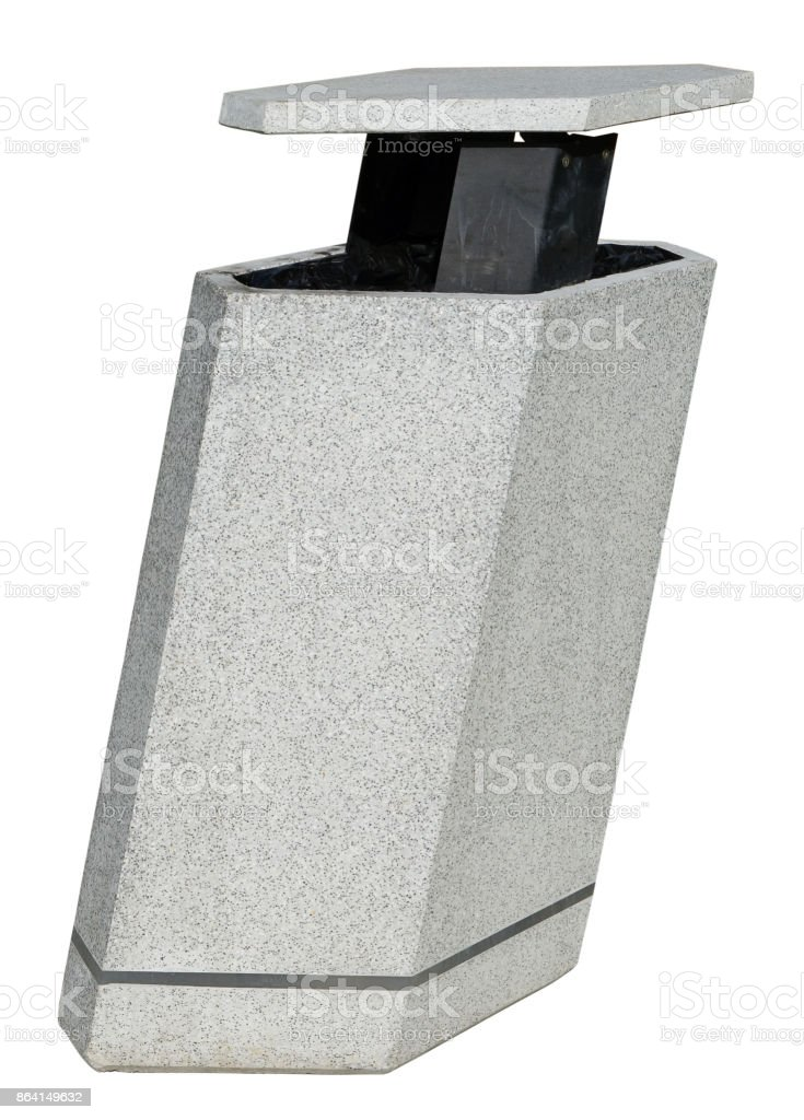 Urban modern public garbage can in high-tech style is made of granite and metal. royalty-free stock photo