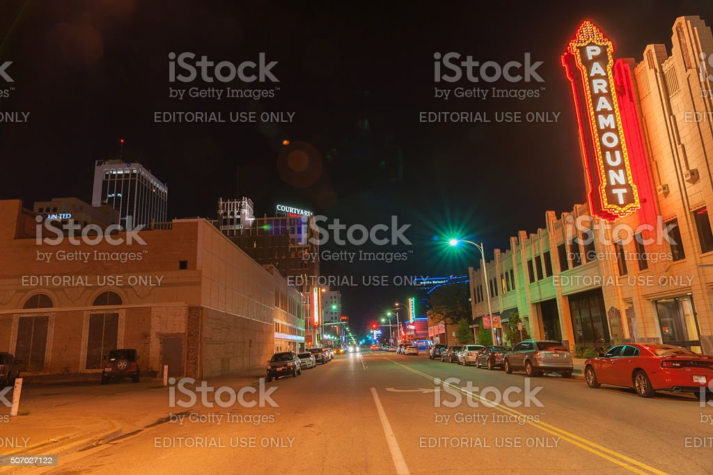 Urban neon signs and lighting, Paramount,  downtown Amarillo stock photo