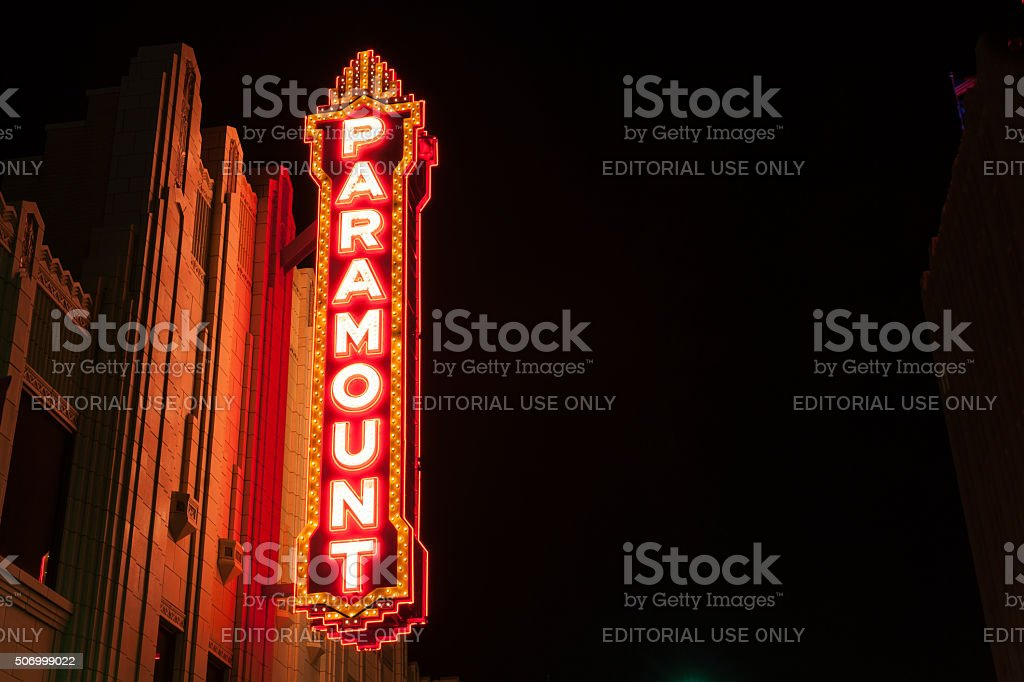 Urban neon signs and lighting Paramount  downtown Amarillo Texas stock photo