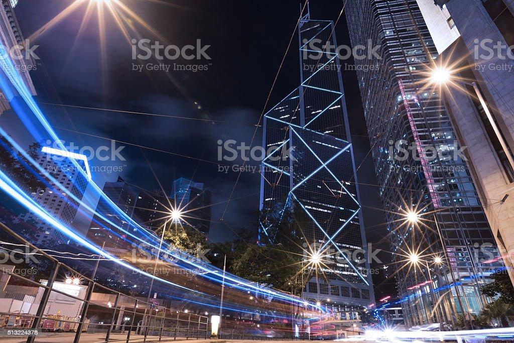 Urban night scene of Hong Kong stock photo