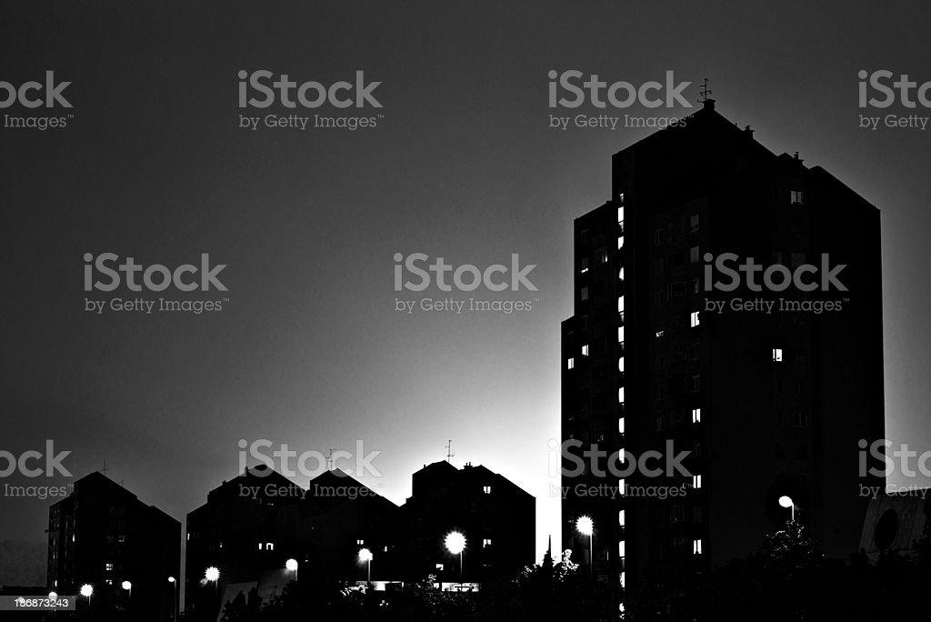 Urban night silhouette stock photo