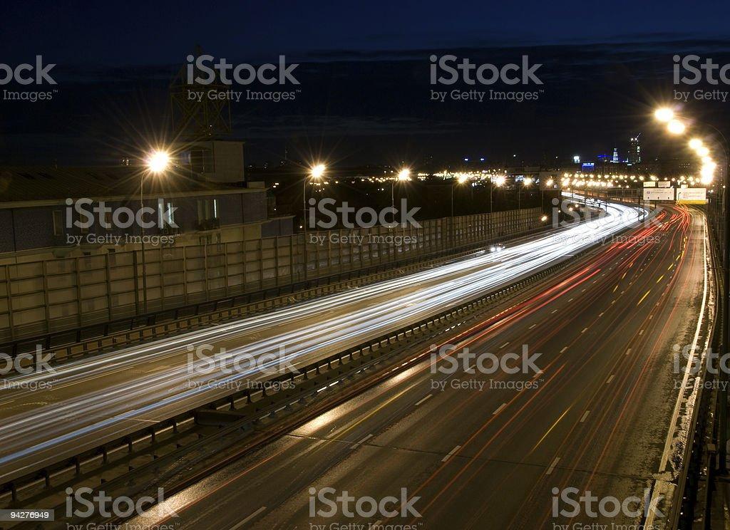 Urban night traffic lights royalty-free stock photo