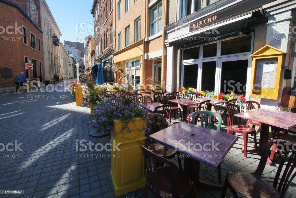 Urban Old Quebec City Street Bistro royalty-free stock photo