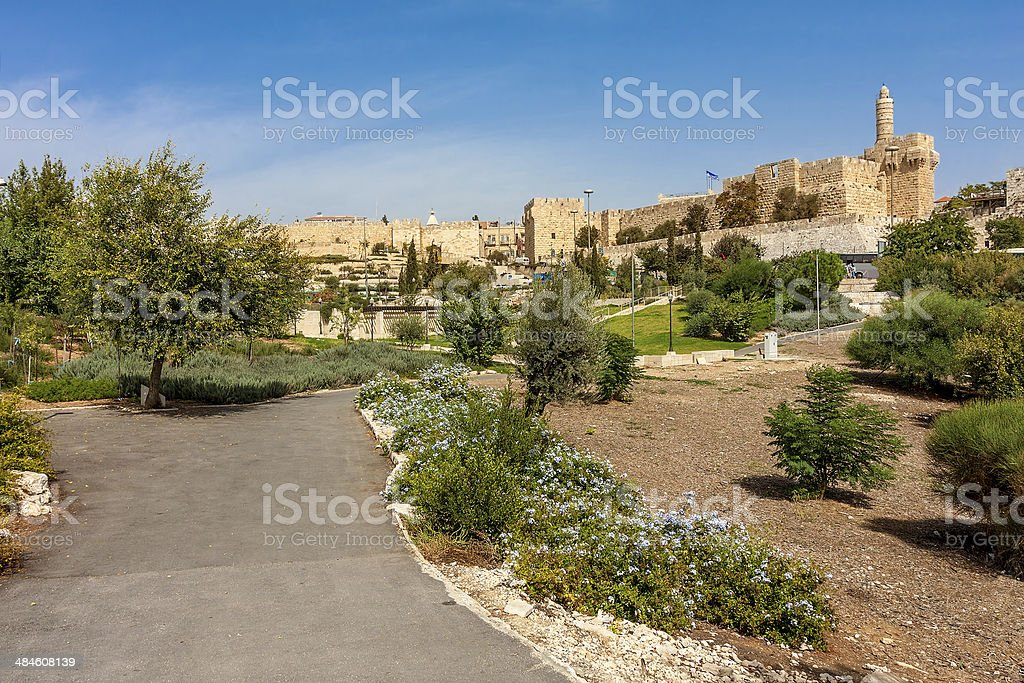 Urban park, Tower of David and citadel in Jerusalem. stock photo