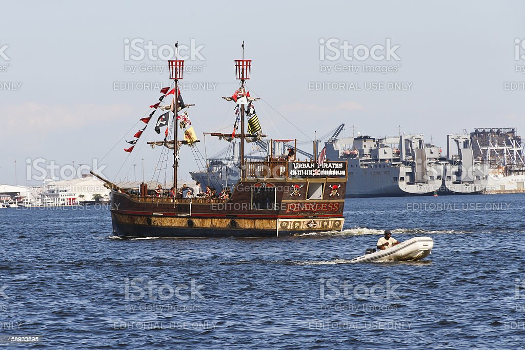 Urban Pirates Ship In Baltimore Maryland stock photo