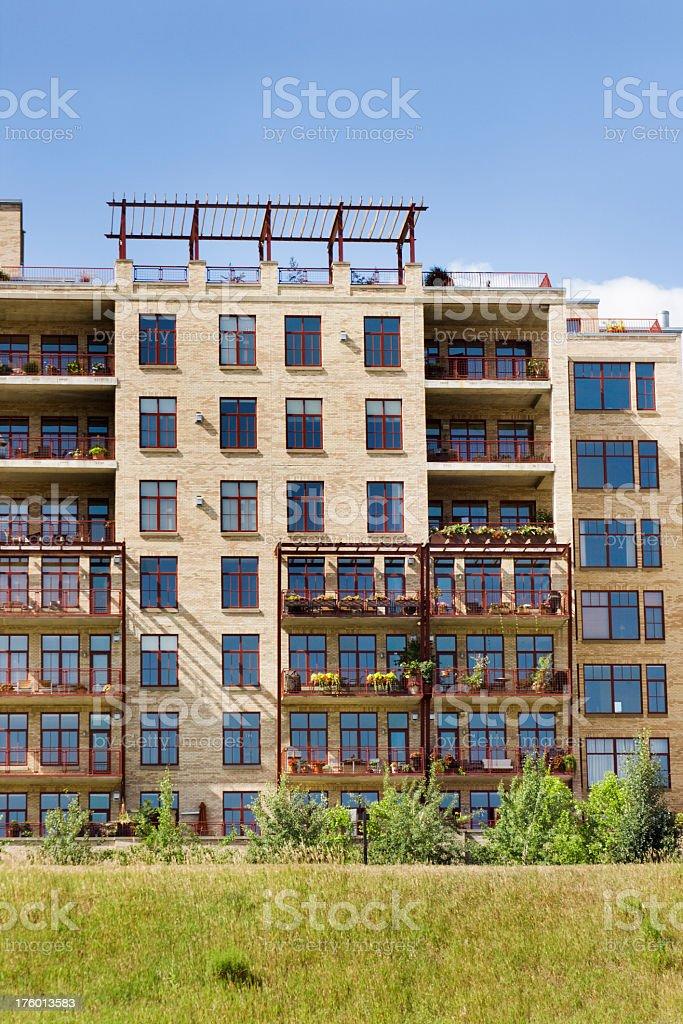 Urban Renewal Condo or Apartment Rental Building Construction Architectural Facade royalty-free stock photo