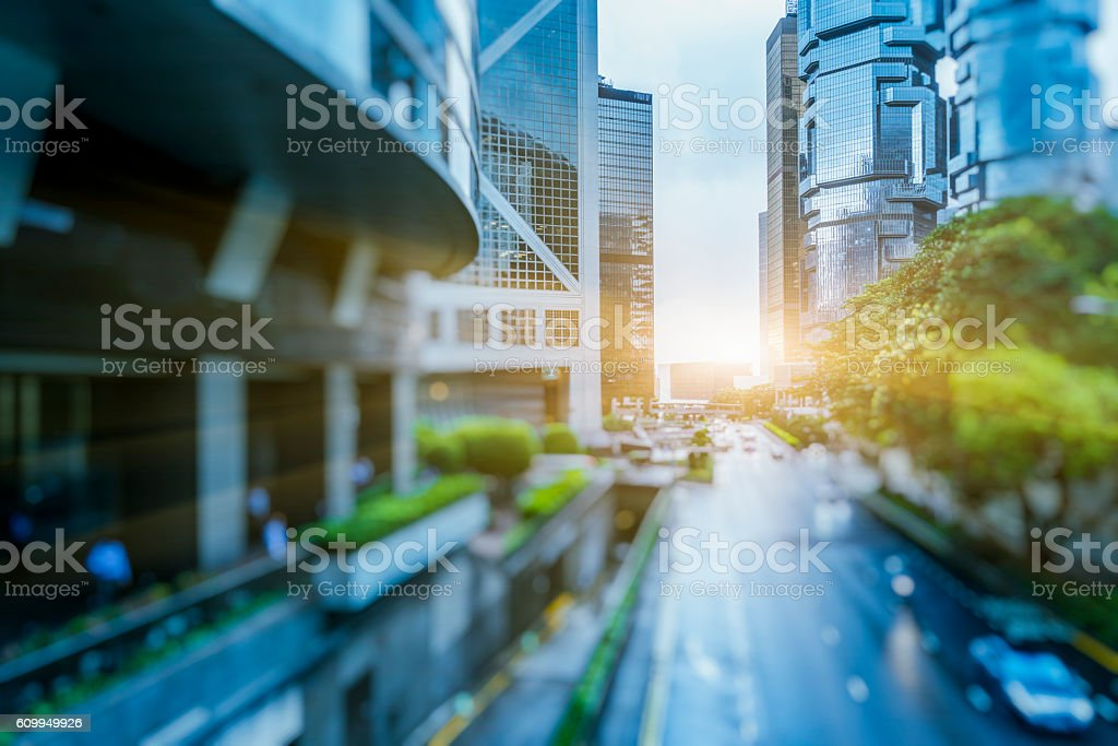 urban road amidst modern skyscrapers,hong kong stock photo