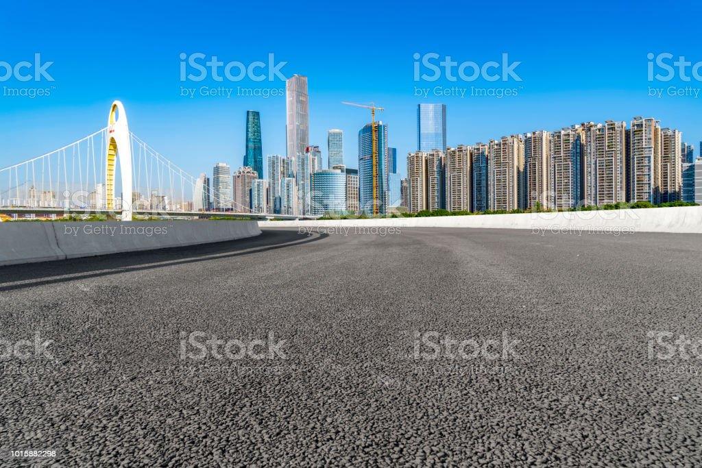 Urban road asphalt pavement and Guangzhou urban architecture