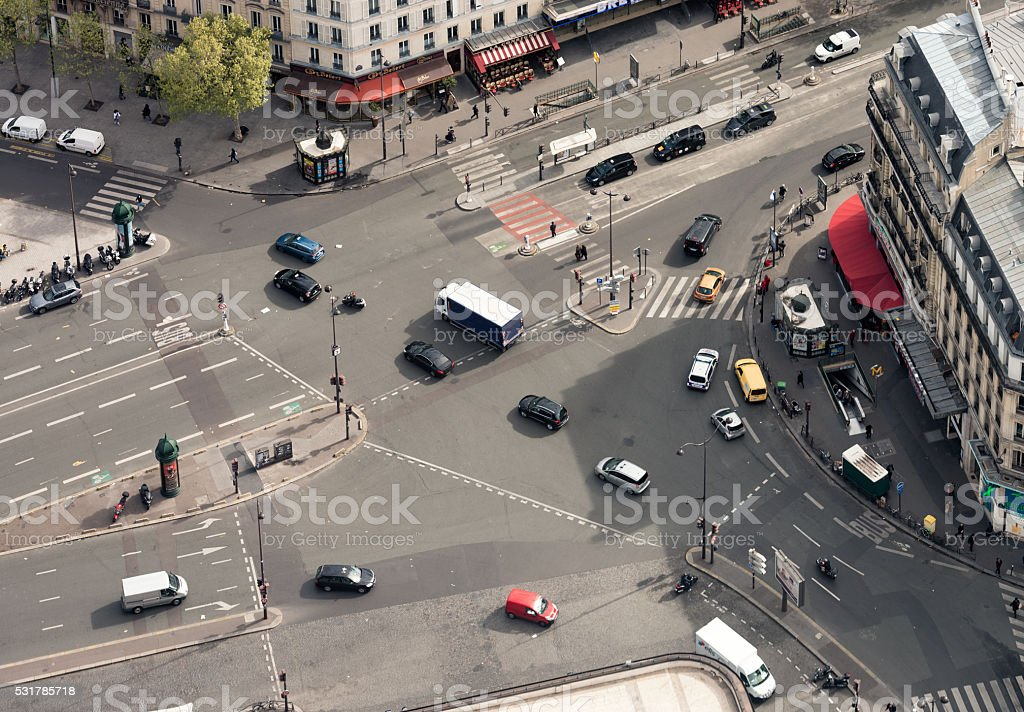 Urban road intersection from high angle view stock photo
