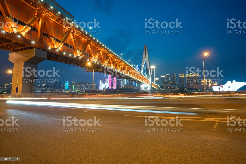 Urban road, modern city at night royalty-free stock photo