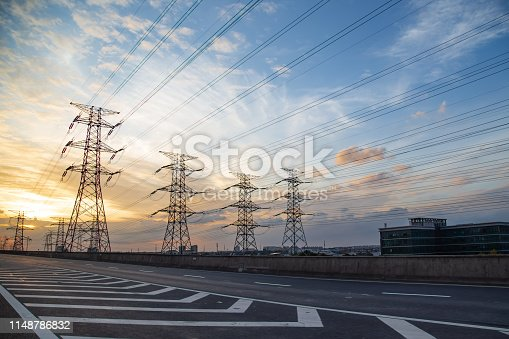 Urban road traffic and electric towers