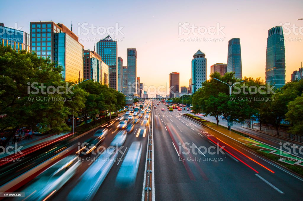 Urban road with buildings skyline in Beijing royalty-free stock photo