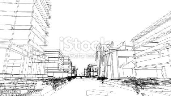 507211099istockphoto Urban scene, abstract wireframe 509111128