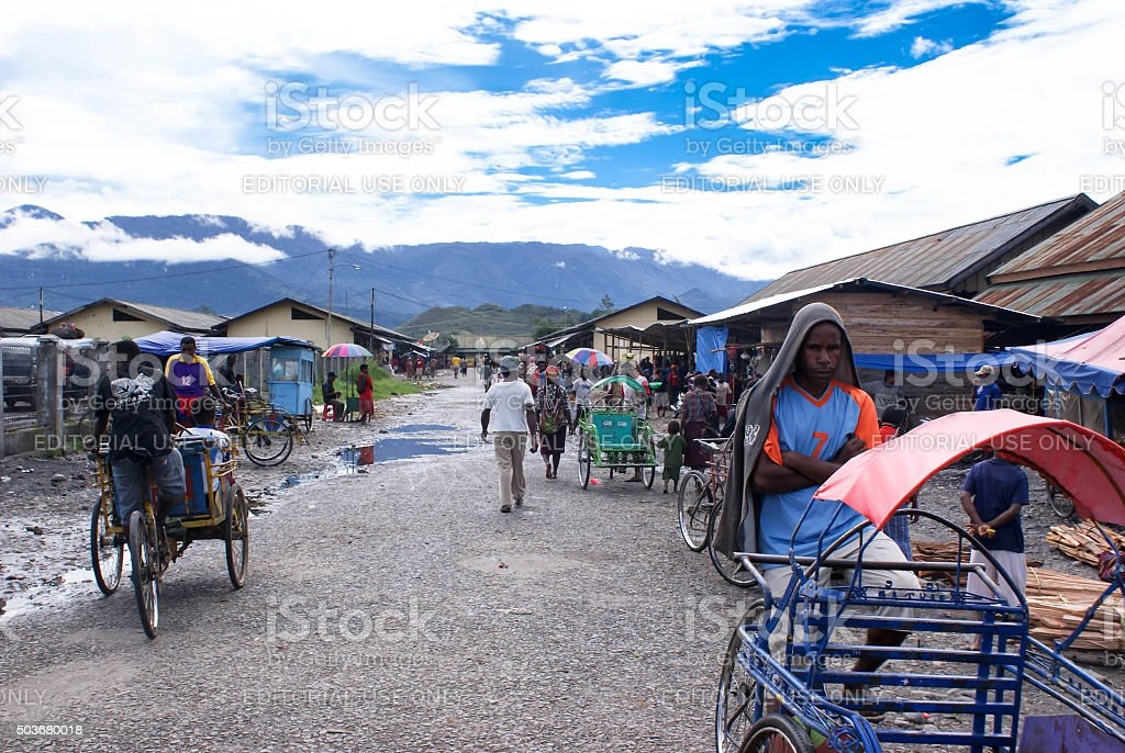 Urban scene and landscapes of Wamena, Papua province of Indonesia stock photo