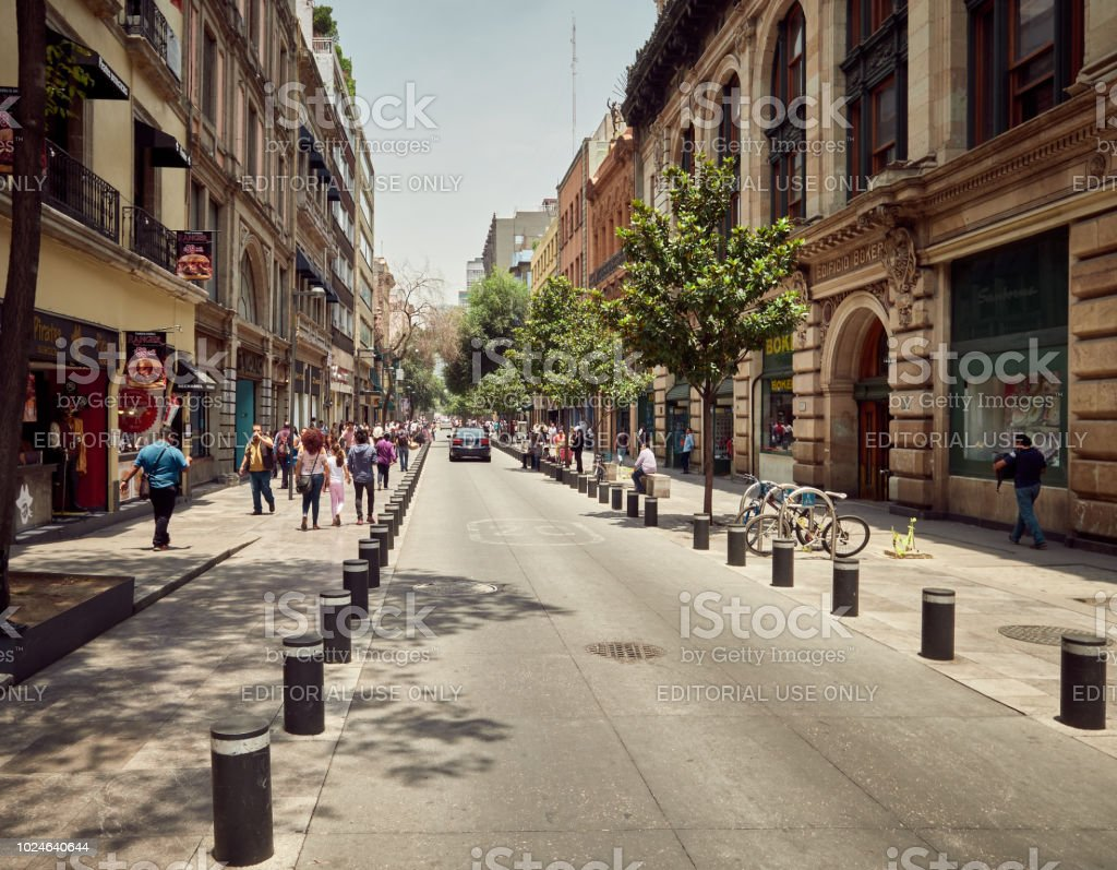 Urban scene with people from downtown Mexico City, Mexico in...