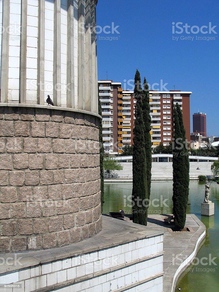 Urban Scene in Barcelona Sants royalty-free stock photo