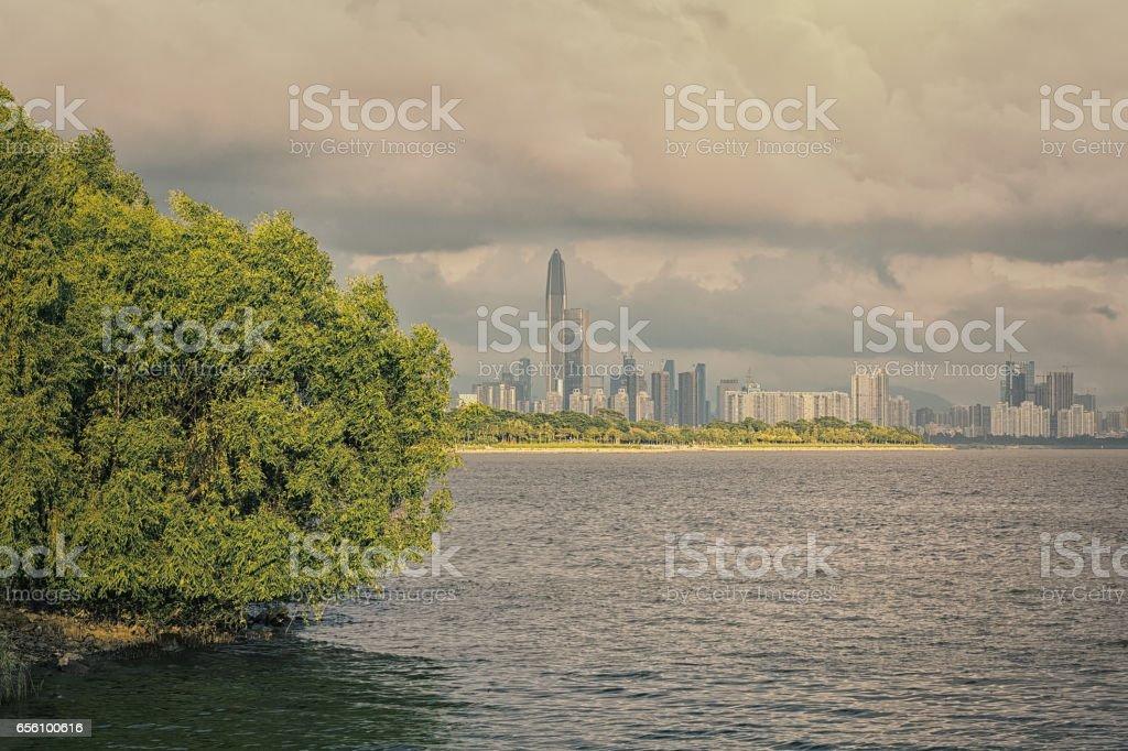 Urban scene of Shenzhen city stock photo