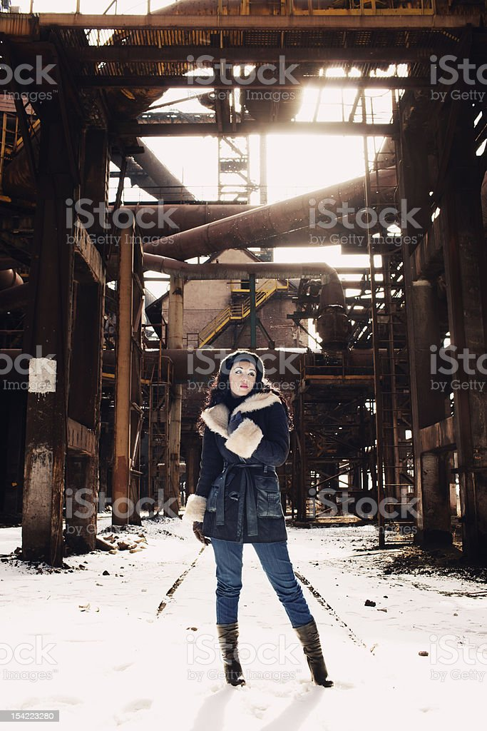 urban scene with fashion model royalty-free stock photo