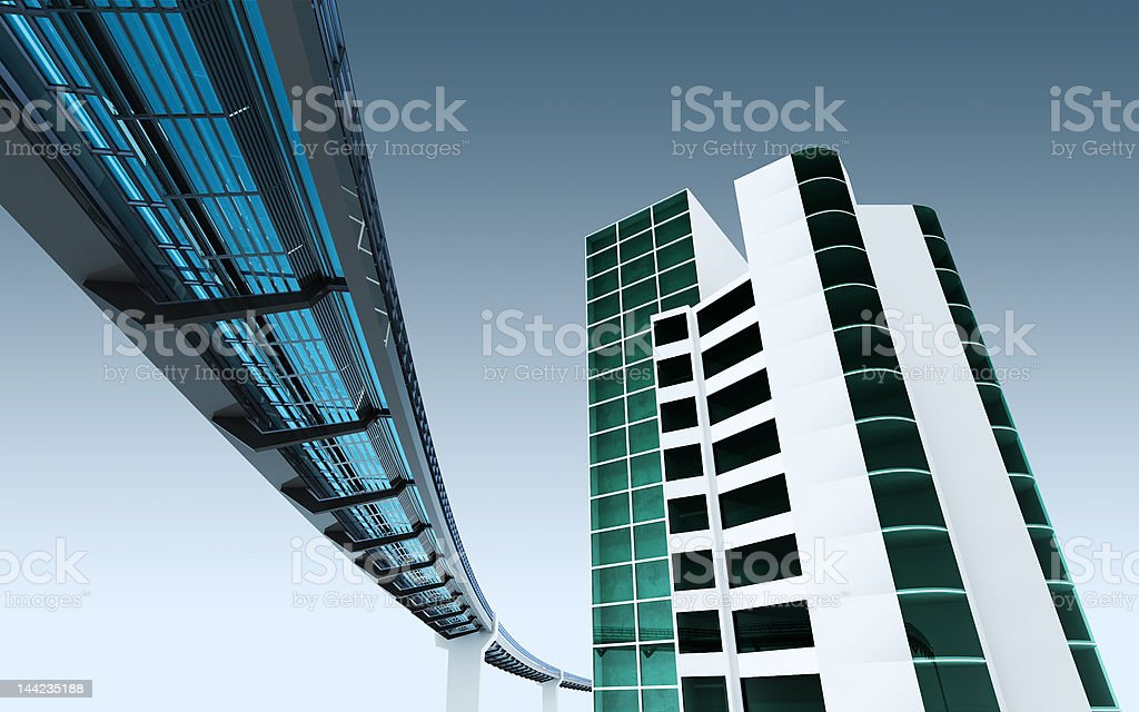 urban scene with monorail royalty-free stock photo