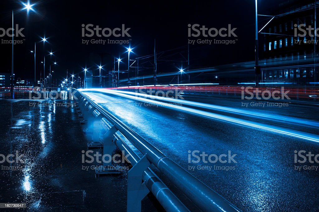 Urban scene with traffic light trails, Amsterdam royalty-free stock photo