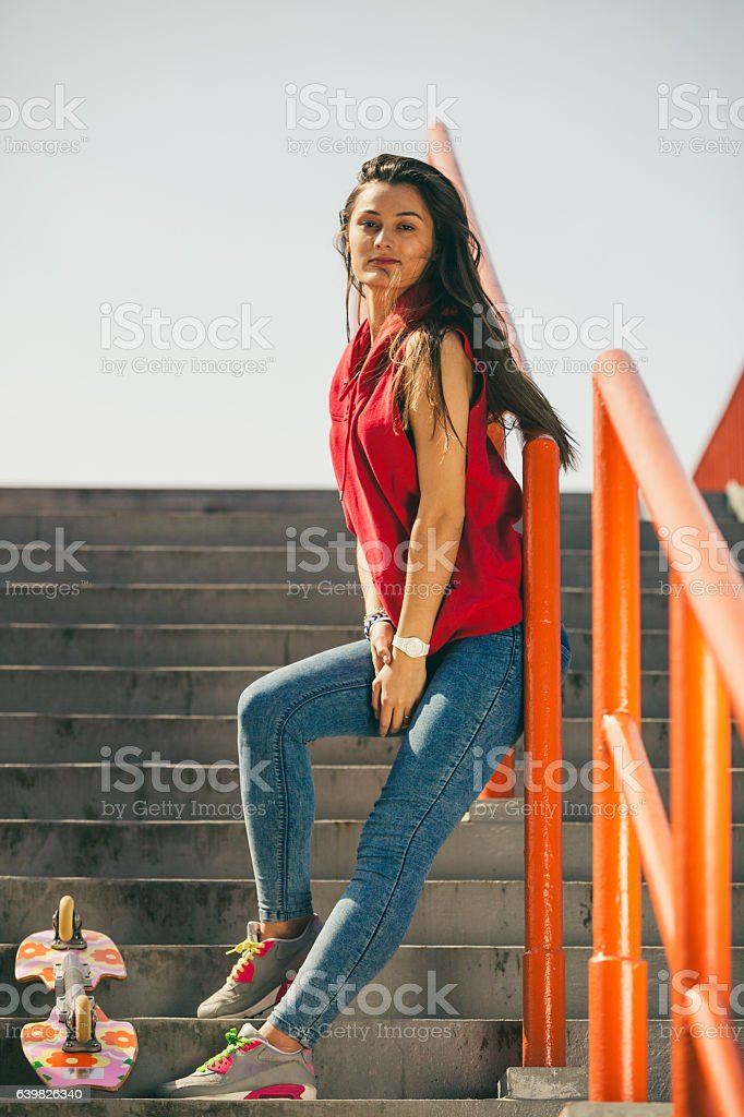 Urban Skate Girl With Skateboard Stock Photo - Download Image Now