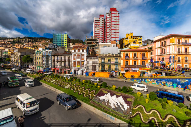 Urban skyline in downtown La Paz with many colourful buildings. stock photo