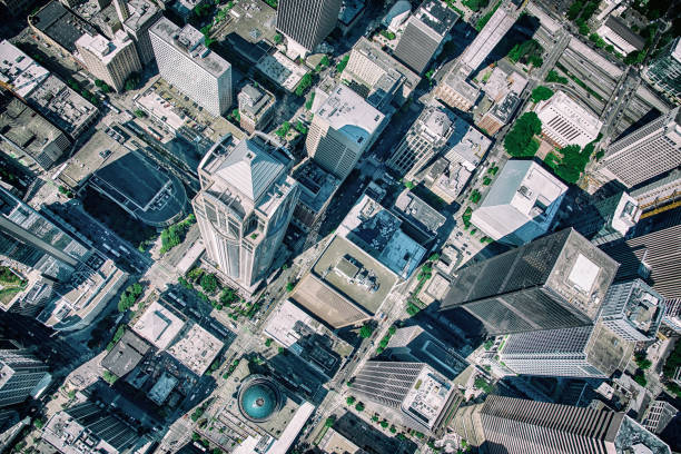 urban skyscrapers from above - generic location stock pictures, royalty-free photos & images