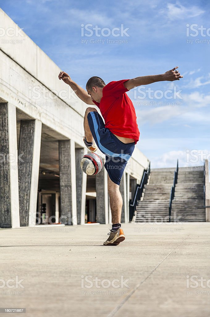 Urban soccer player royalty-free stock photo