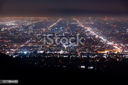 Aerial View of Los Angeles City Streets at Night.