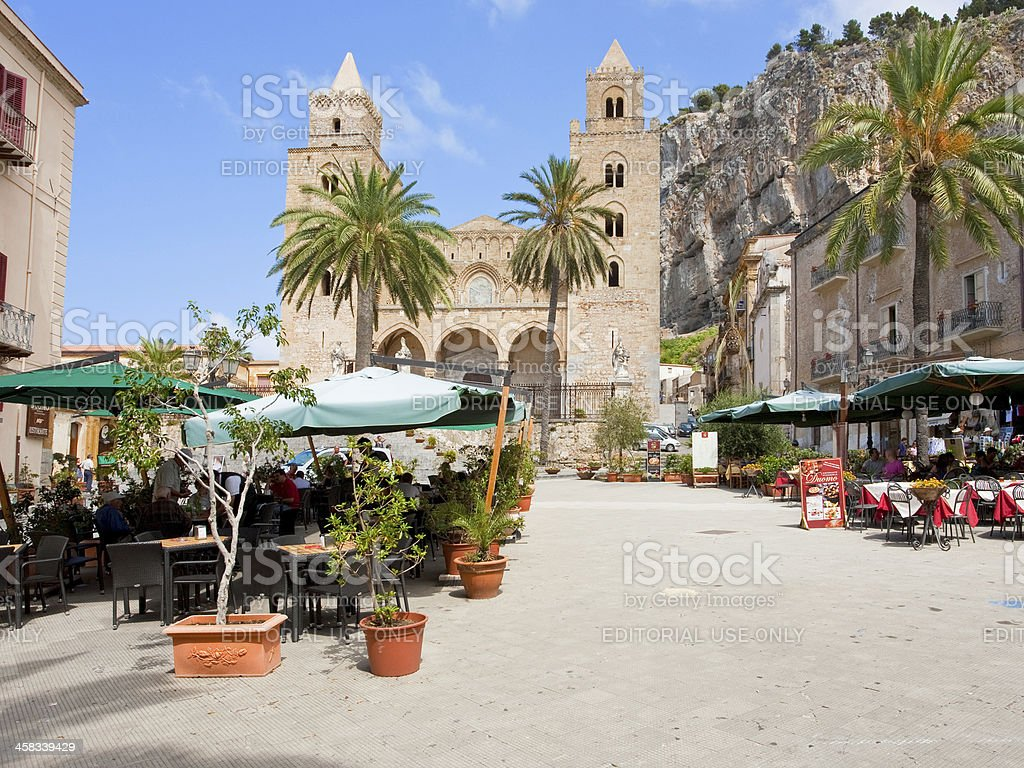 urban square near Cathedral-Basilica of Cefalu, Sicily, Italy royalty-free stock photo