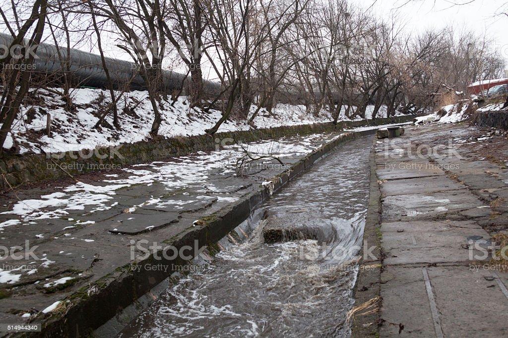 Urban stream in winter. The Lybid river. stock photo