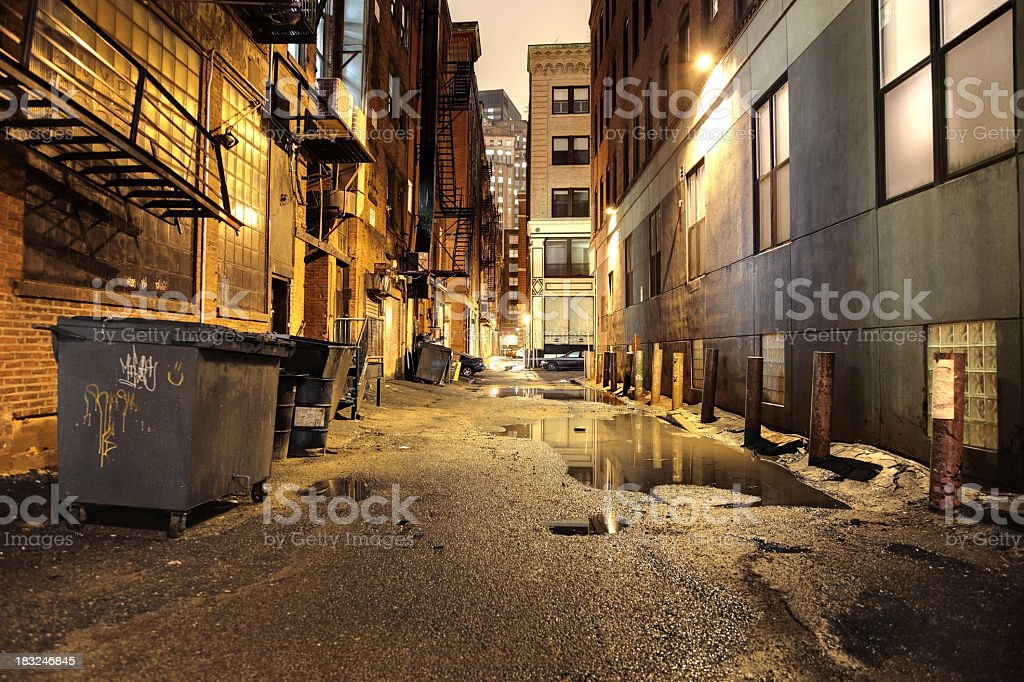 Urban Street at Night Dark wet alley in the City of Boston Alley Stock Photo
