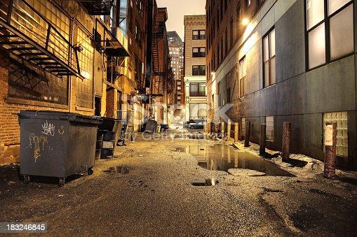 Dark wet alley in the City of Boston