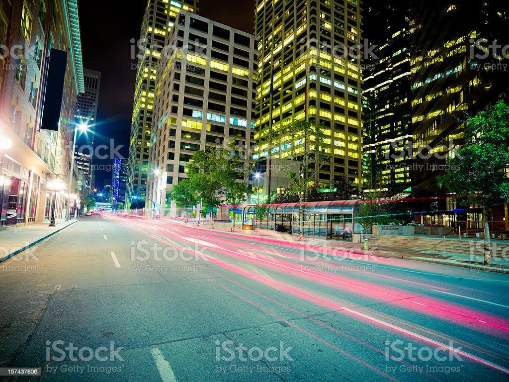 Urban Street Scene At Night royalty-free stock photo