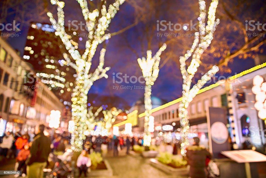 urban street with Christmas illuminations stock photo