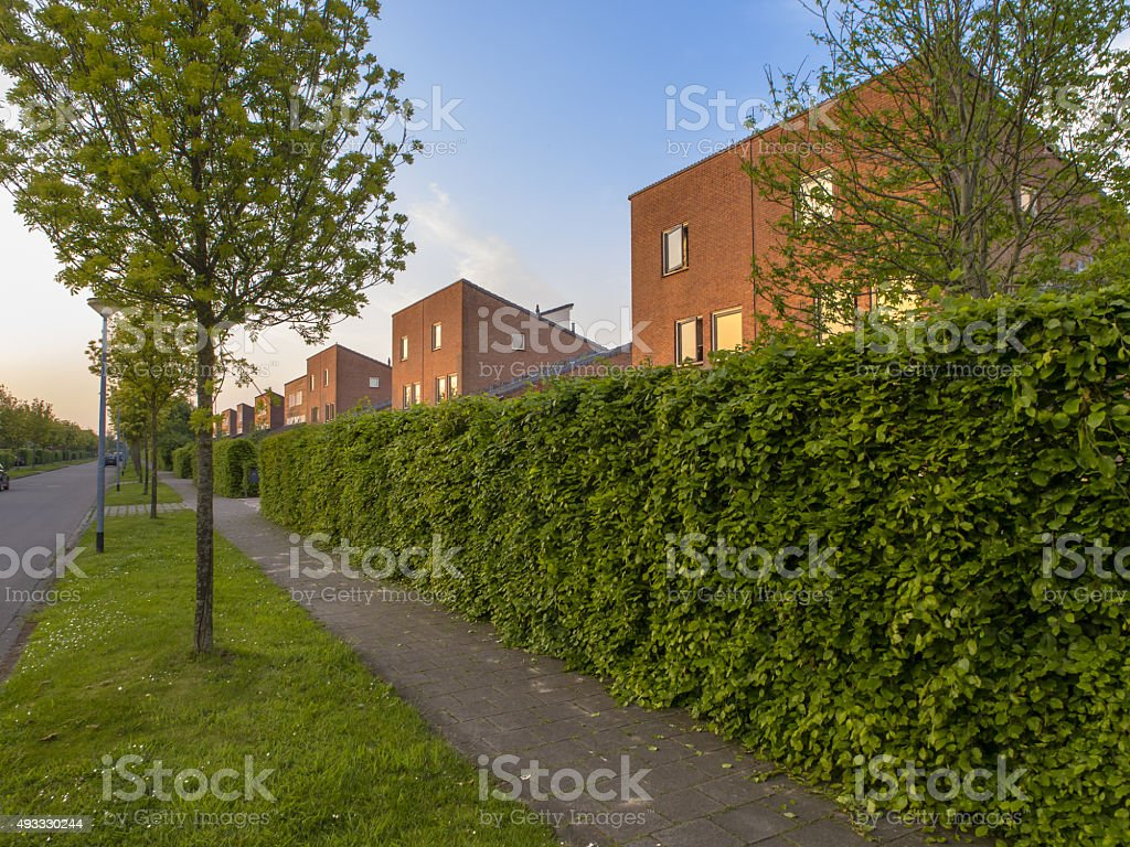 urban street with modern houses stock photo