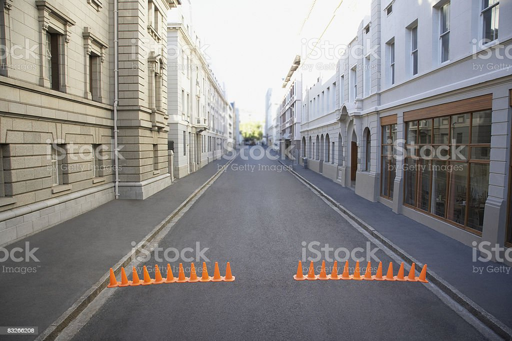 Urban street with traffic cones royalty-free stock photo
