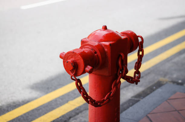 urban street with yellow marking with fire hydrant urban street with yellow marking with fire hydrant fire hydrant stock pictures, royalty-free photos & images
