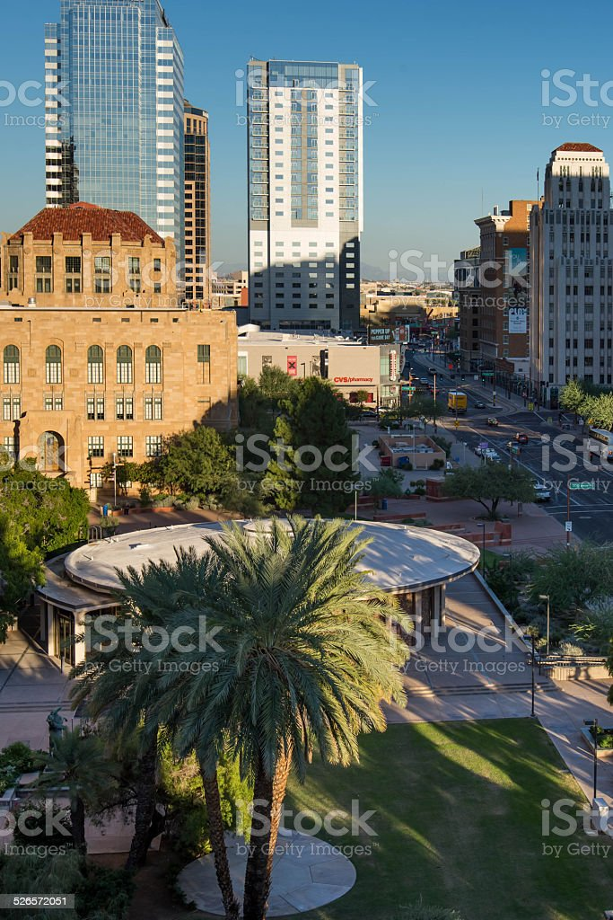 Urban streetscapes and buildings in downtown Phoenix, AZ stock photo
