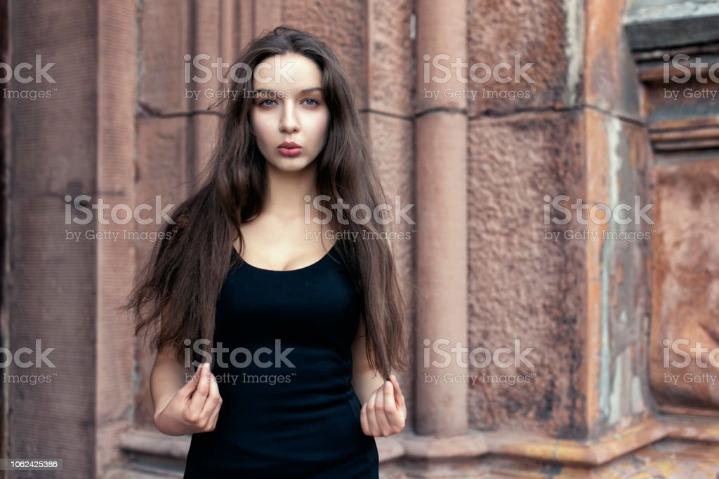 Urban Style With Long Haired Brunette Stock Photo Download